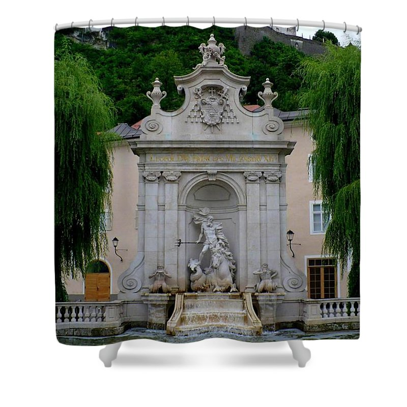 Salzburg Shower Curtain featuring the photograph Salzburg Castle With Fountain by Carol Groenen