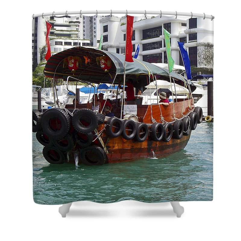 Sampan Ringed With Old Tires Shower Curtain featuring the photograph Sampan by Sally Weigand