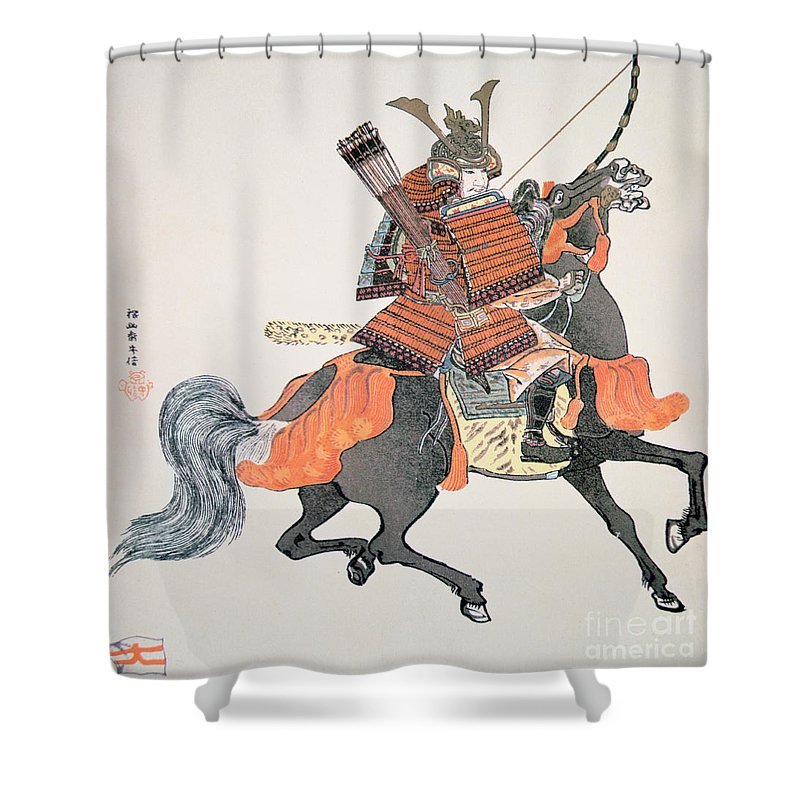 Japan Shower Curtain Featuring The Painting Samurai By Japanese School