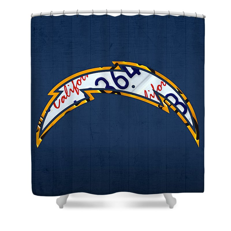 San Diego Shower Curtain featuring the mixed media San Diego Chargers Football Team Retro Logo California License Plate Art by Design Turnpike