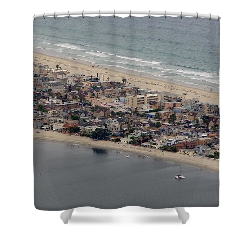 San Diego Shower Curtain featuring the photograph San Diego Coast Aeriol 3 by Phyllis Spoor