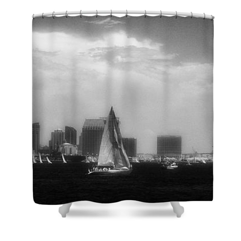 San Diego Shower Curtain featuring the photograph San Diego Harbor In Infrared by Hugh Smith