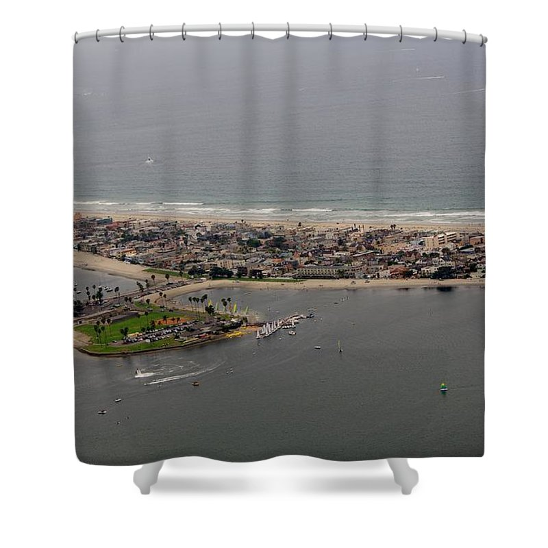 San Diego Shower Curtain featuring the photograph San Diego Mission Bay 3 Aerial by Phyllis Spoor