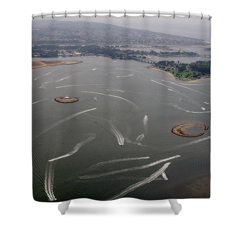 San Diego Shower Curtain featuring the photograph San Diego Mission Bay Water Aerial by Phyllis Spoor