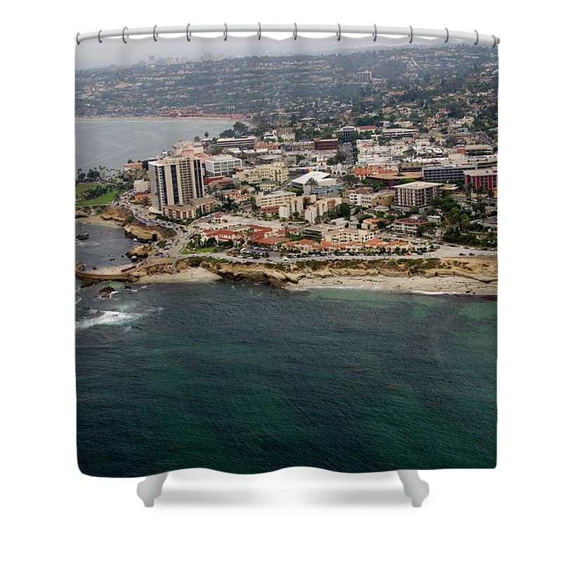 San Diego Shower Curtain featuring the photograph San Diego Shoreline From Above by Phyllis Spoor
