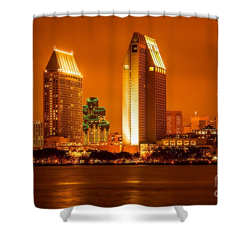 2012 Shower Curtain featuring the photograph San Diego Skyline At Night Along San Diego Bay by Paul Velgos