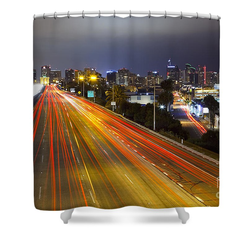 Long Exposure Shower Curtain featuring the photograph San Diego Skyline by Bryan Mullennix