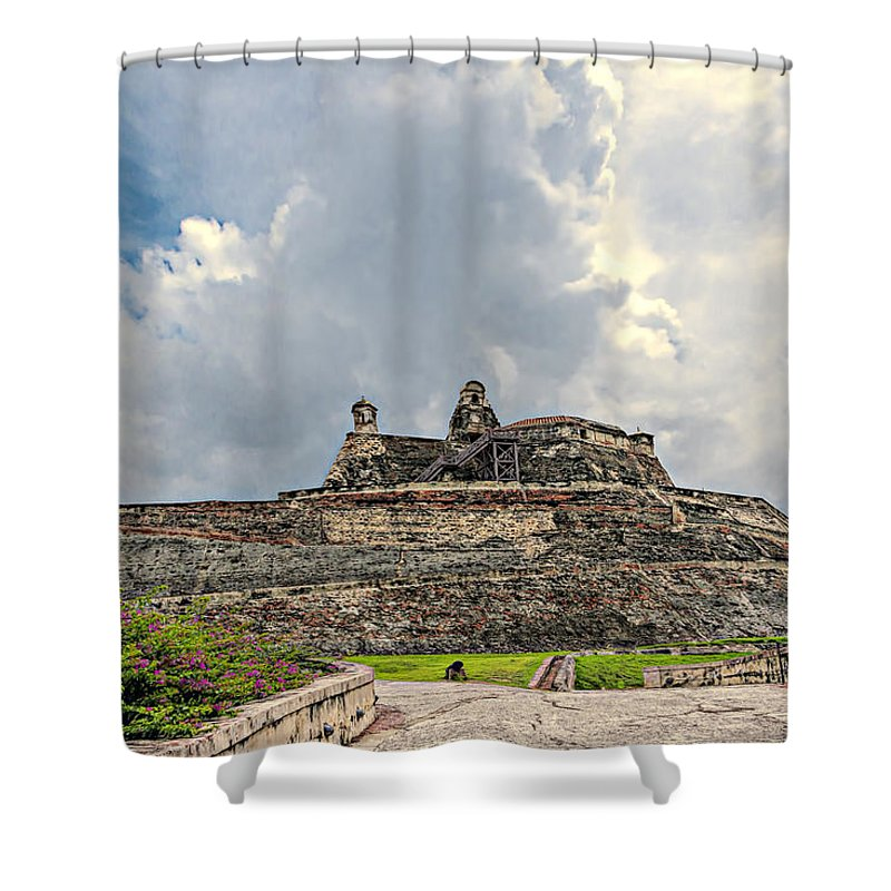 Architecture Shower Curtain featuring the photograph San Felipe Fort by Maria Coulson