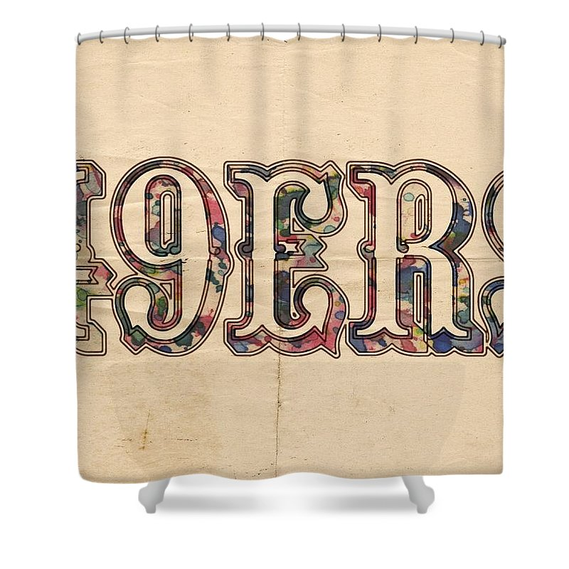San Francisco 49ers Shower Curtain Featuring The Painting Vintage Logo By Florian Rodarte