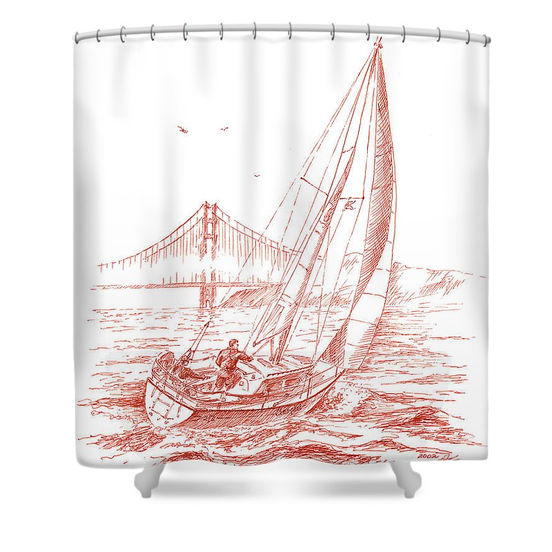 San Francisco Shower Curtain Featuring The Drawing Bay Sailing To Golden Gate Bridge By