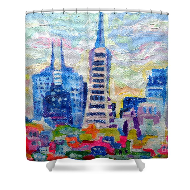 San Francisco Shower Curtain featuring the painting San Francisco Colors by Morgan Ralston