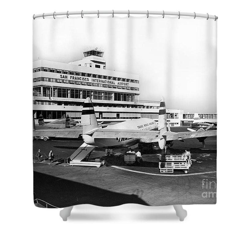San Francisco Shower Curtain featuring the photograph San Francisco International Airport Passenger Terminal Circa 195 by California Views Archives Mr Pat Hathaway Archives