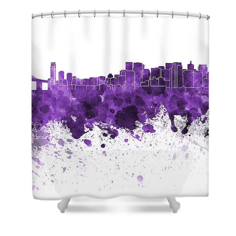 San Francisco Skyline Shower Curtain featuring the painting San Francisco Skyline In Purple Watercolor On White Background by Pablo Romero