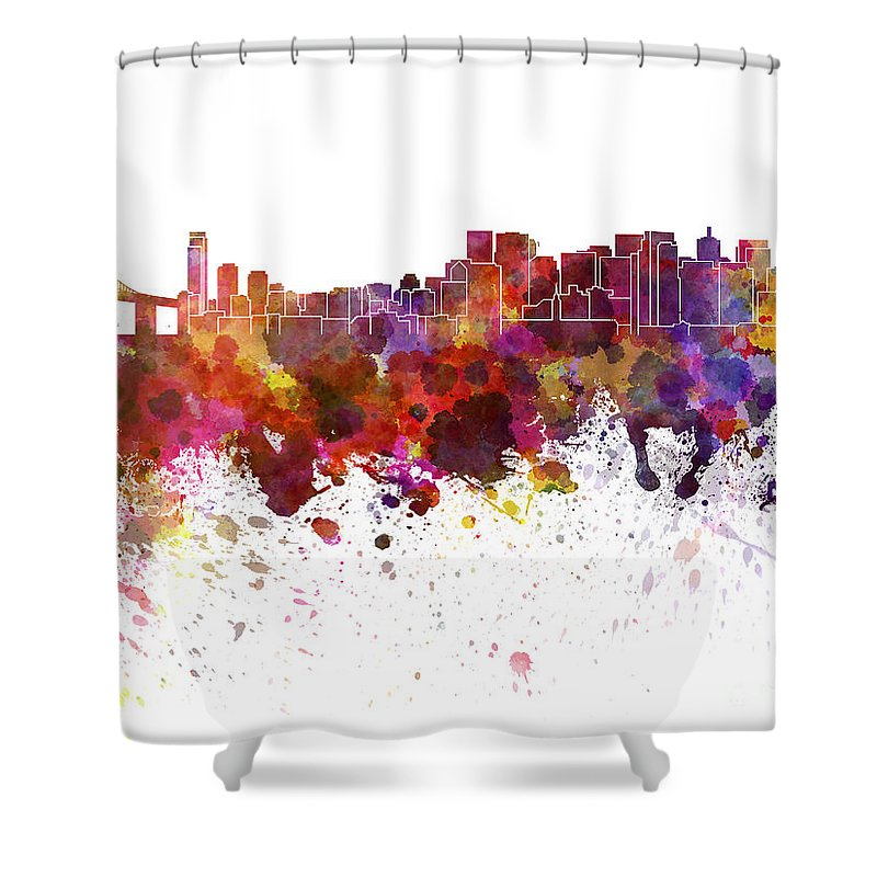 San Francisco Skyline Shower Curtain featuring the painting San Francisco Skyline In Watercolor On White Background by Pablo Romero