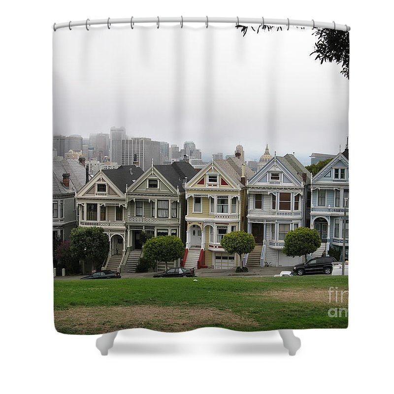 San Francisco Shower Curtain featuring the photograph San Francisco - The Painted Ladies I by Christiane Schulze Art And Photography