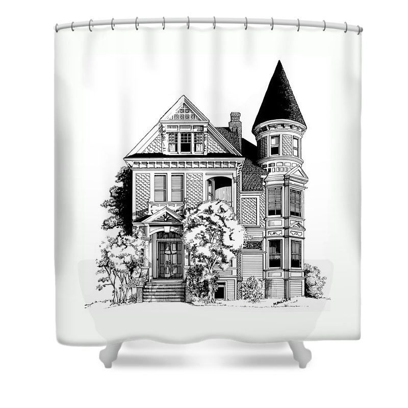 Pen And Ink Shower Curtain featuring the drawing San Francisco Victorian by Mary Palmer