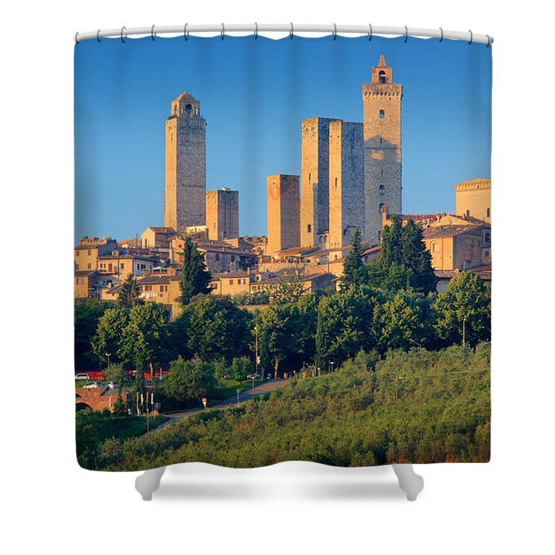 Europe Shower Curtain featuring the photograph San Gimignano Skyline by Inge Johnsson