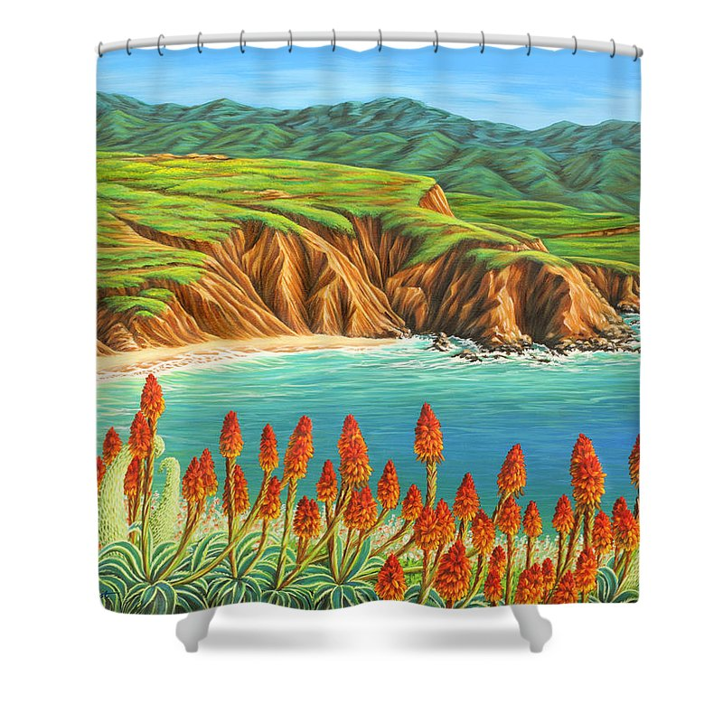 Ocean Shower Curtain featuring the painting San Mateo Springtime by Jane Girardot