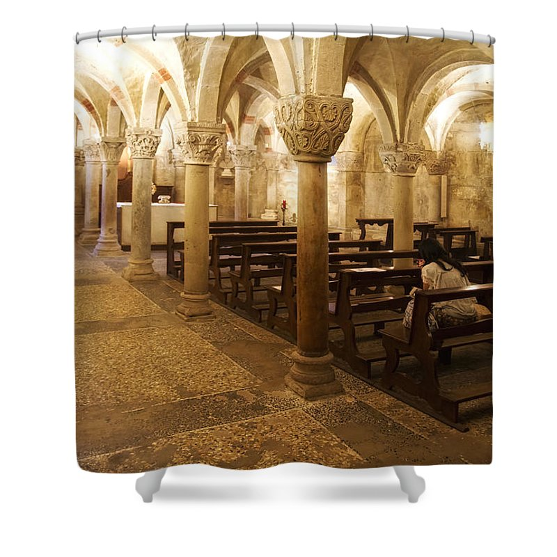 Architecture Shower Curtain featuring the photograph San Michele Chapel by Roberto Pagani