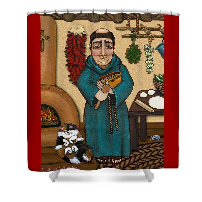 San Pascual Shower Curtain featuring the painting San Pascual by Victoria De Almeida