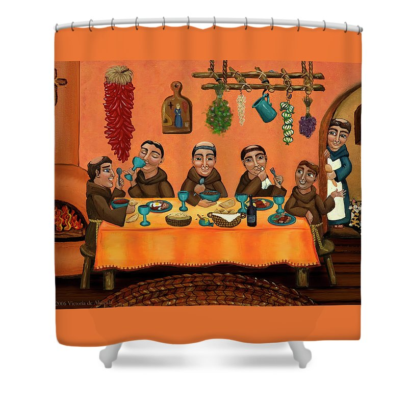 Hispanic Art Shower Curtain featuring the painting San Pascuals Table by Victoria De Almeida