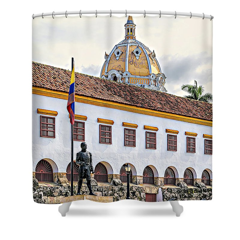 South American Shower Curtain featuring the photograph San Pedro Claver Monastery by Maria Coulson
