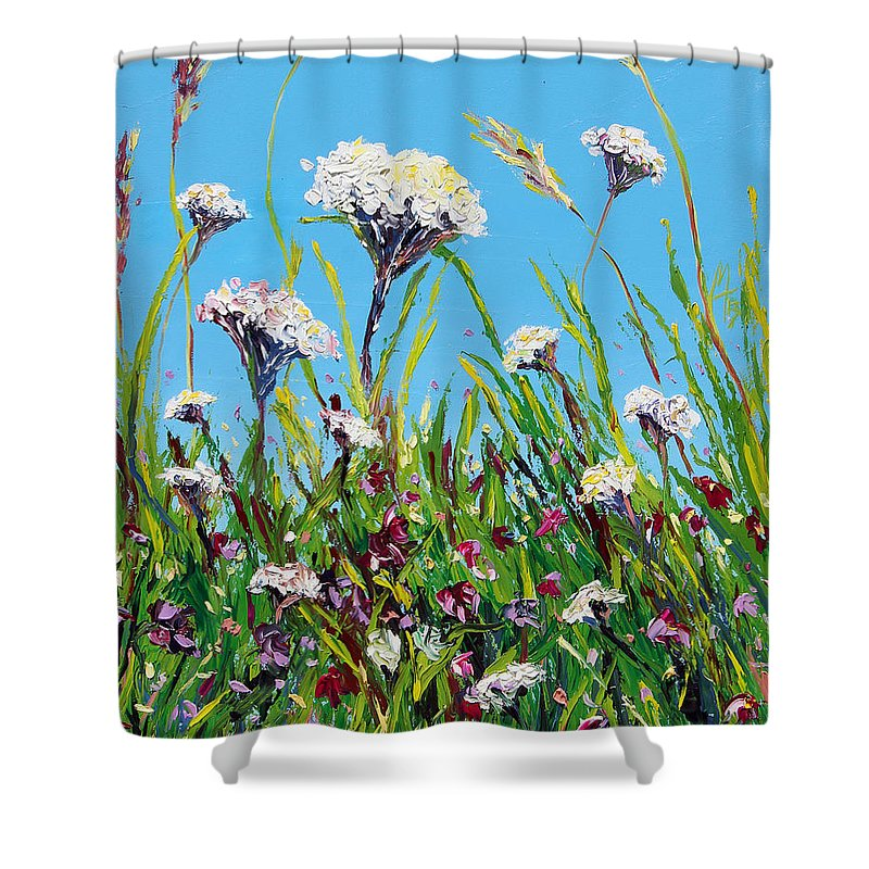 Landscape Shower Curtain featuring the painting Sanctuary by Meaghan Troup