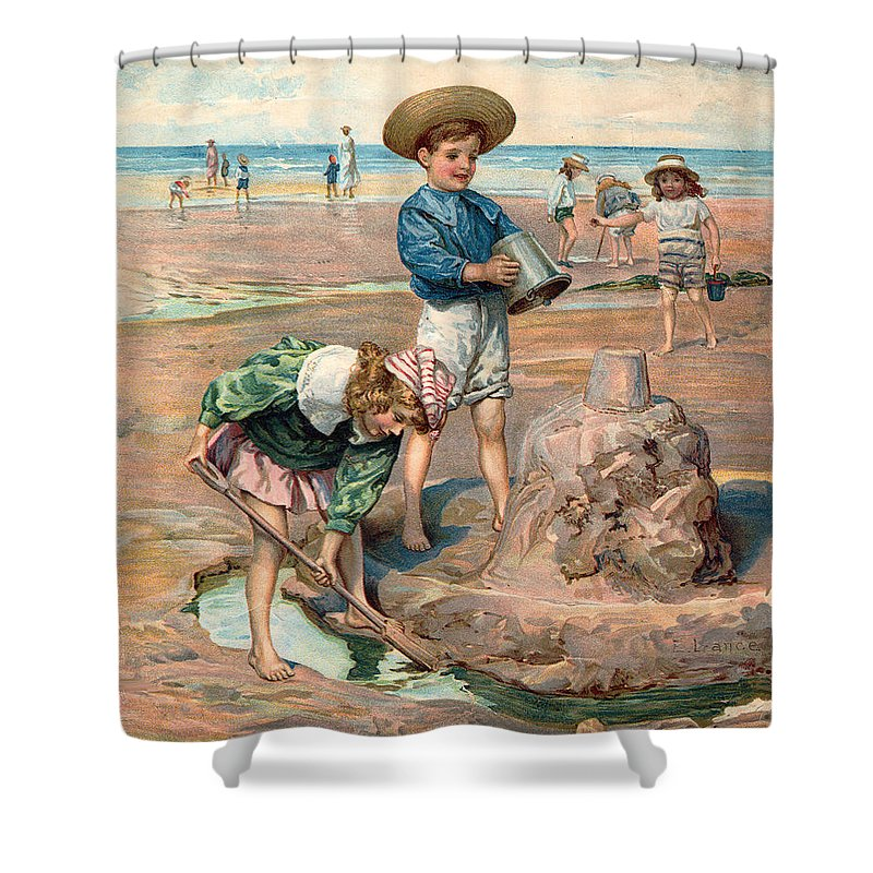 Sand Castles At The Beach Shower Curtain featuring the digital art Sand Castles At The Beach by Unknown