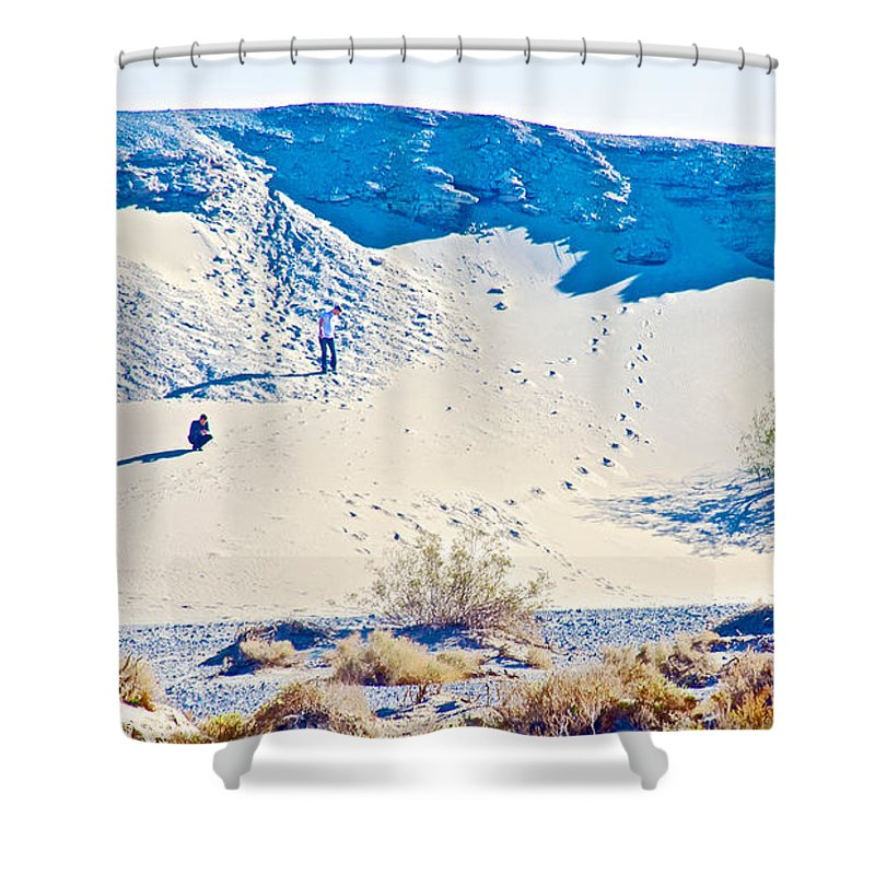 Sand Dune Bordering Salt Creek Trail In Death Valley National Park Shower Curtain featuring the photograph Sand Dune Bordering Salt Creek Trail In Death Valley National Park-california by Ruth Hager