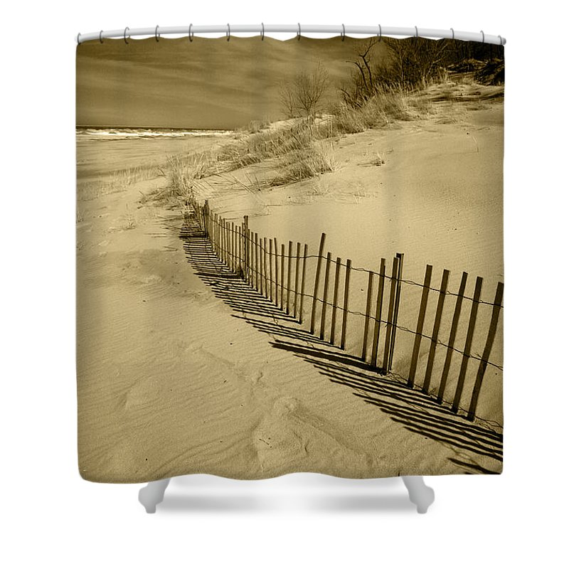 Sand Dunes Shower Curtain featuring the photograph Sand Dunes And Fence by Timothy Johnson