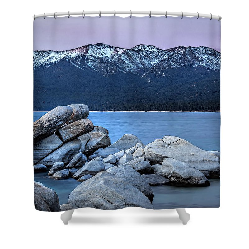 Landscape Shower Curtain featuring the photograph Sand Harbor Rocks by Maria Coulson