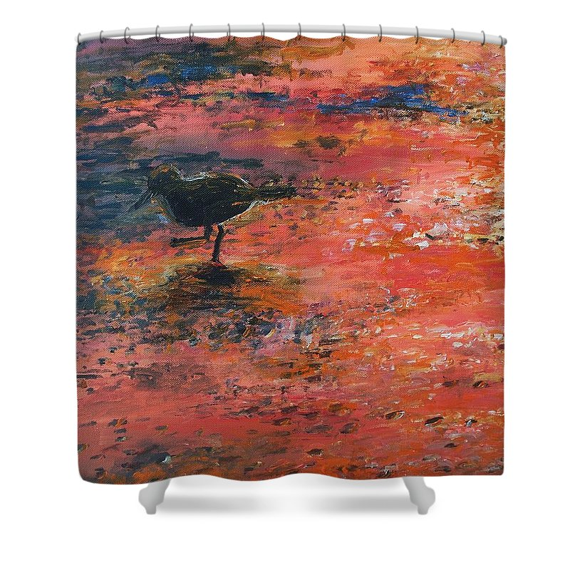 Beach Shower Curtain featuring the painting Sandpiper Cape May by Eric Schiabor