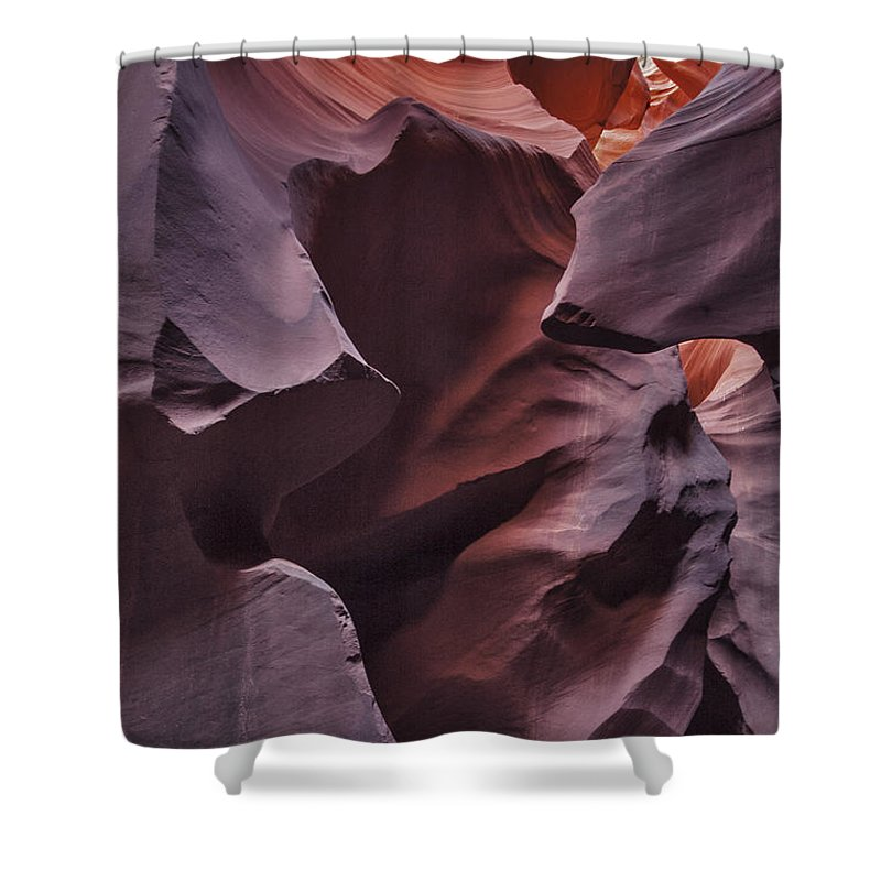 Sandstone Face Etched Over Time At Lower Antelope Canyon Shower Curtain featuring the photograph Sandstone Face by Mae Wertz