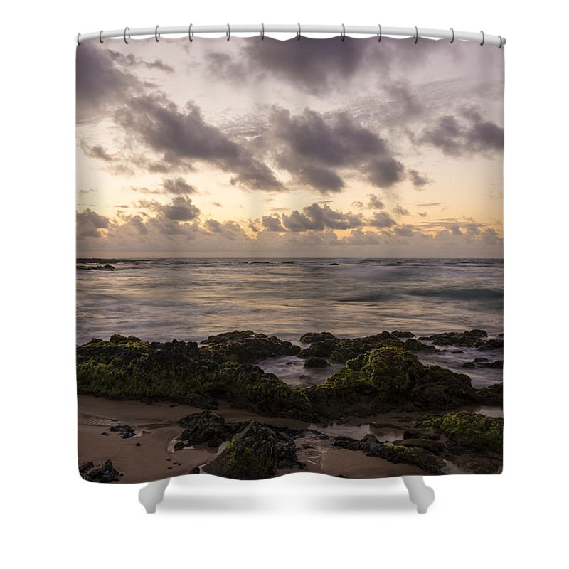 Sandy Beach Park Sunrise 10 Lava Rock Seascape Shower Curtain featuring the photograph Sandy Beach Sunrise 10 - Oahu Hawaii by Brian Harig