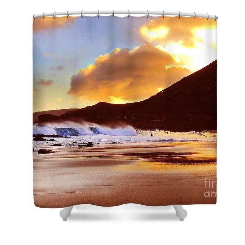 Beach Shower Curtain featuring the photograph Sandy Beach Sunset by Kristine Merc