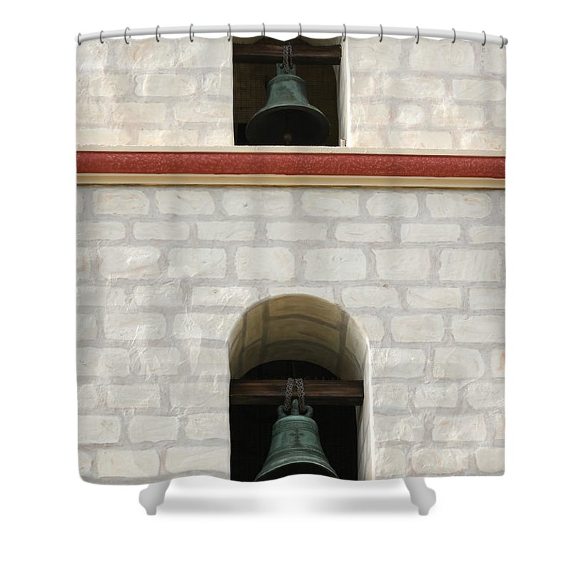 Church Shower Curtain featuring the photograph Santa Barbara Mission Bells by Henrik Lehnerer