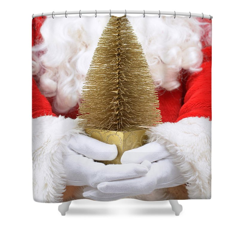Santa Claus Shower Curtain featuring the photograph Santa Claus Holding Christmas Tree by Amanda Elwell