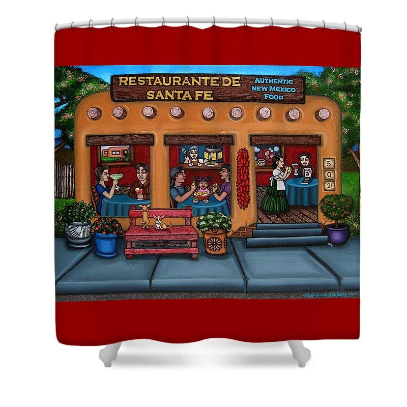 Folk Art Shower Curtain featuring the painting Santa Fe Restaurant by Victoria De Almeida