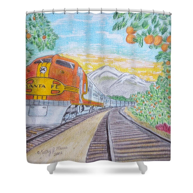 Santa Fe Shower Curtain featuring the painting Santa Fe Super Chief Train by Kathy Marrs Chandler