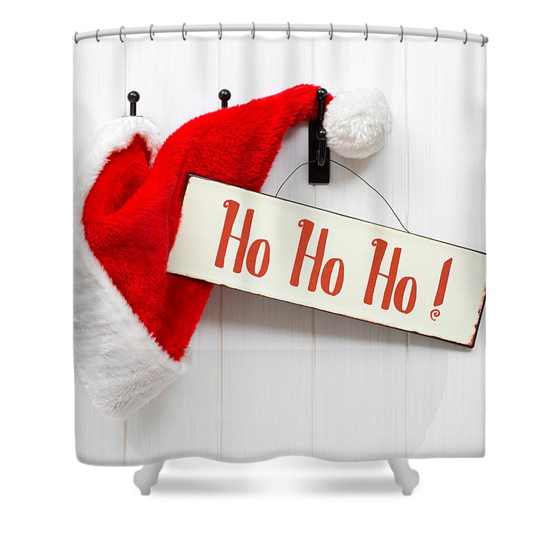 Santa Shower Curtain featuring the photograph Santa Hat And Sign by Amanda Elwell