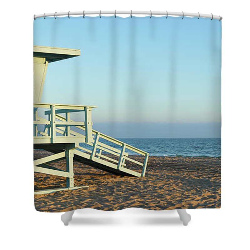 Water's Edge Shower Curtain featuring the photograph Santa Monica Lifeguard Station by S. Greg Panosian