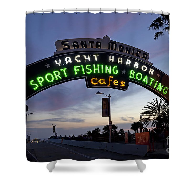 Santa Monica Shower Curtain featuring the photograph Santa Monica Pier At Dusk by Rick Pisio