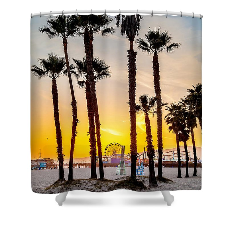 Los Angeles Shower Curtain featuring the photograph Santa Monica Palms by Az Jackson