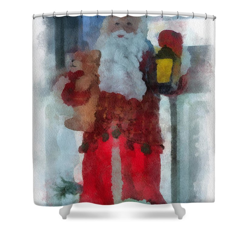Christmas Shower Curtain featuring the photograph Santa Photo Art 14 by Thomas Woolworth