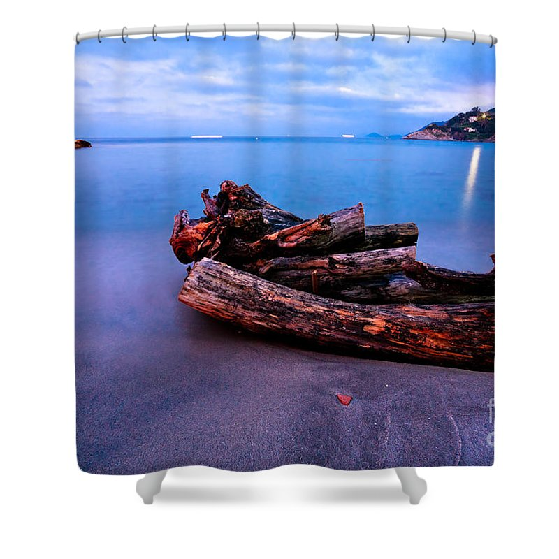 Atlantic Shower Curtain featuring the photograph Sant'andrea At Night - Elba Island. by Luciano Mortula