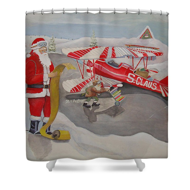 Rick Huotari Shower Curtain featuring the painting Santa's Airport by Rick Huotari