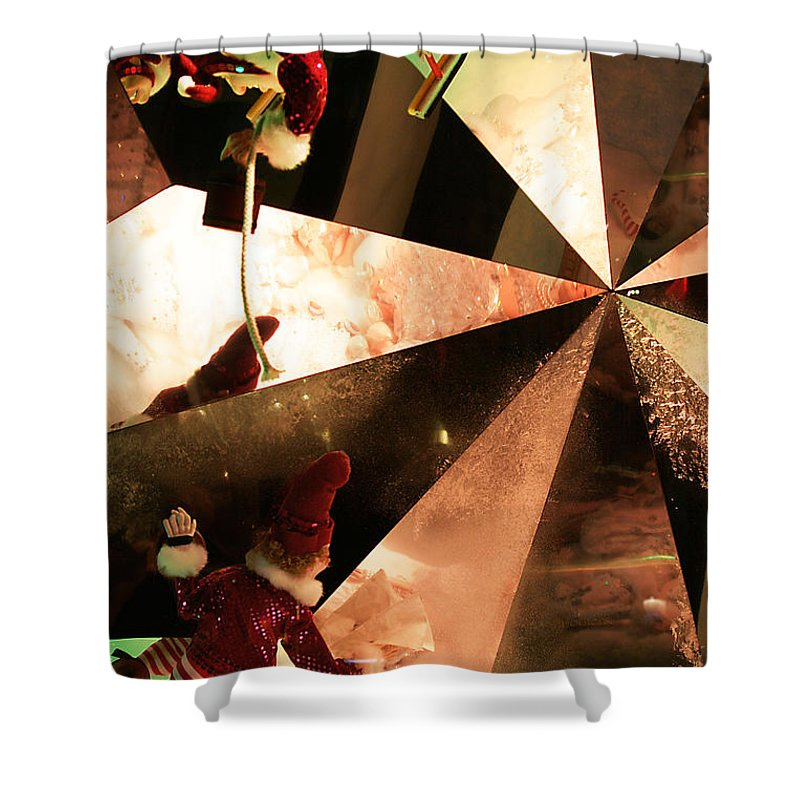 Christmas Scene Shower Curtain featuring the photograph Santa's Window Washing Elves by Rosie McCobb