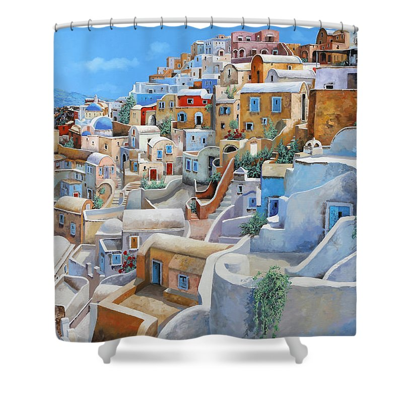 Greece Shower Curtain featuring the painting Santorini A Colori by Guido Borelli