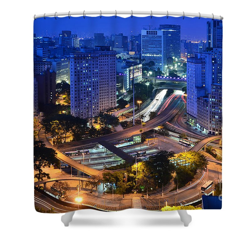 Saopaulo Shower Curtain featuring the photograph Sao Paulo Skyline - Downtown by Carlos Alkmin