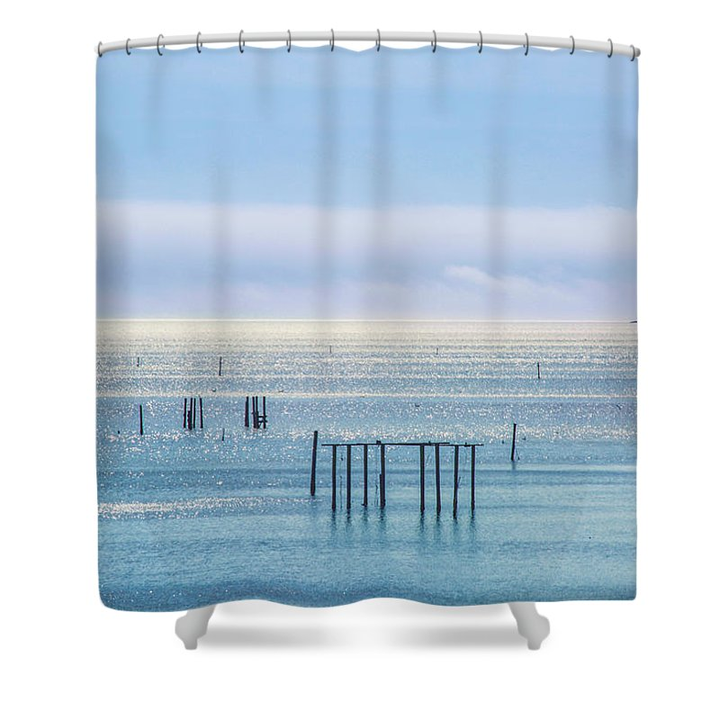 Sapphire Shower Curtain featuring the photograph Sapphire Horizon I by Paula OMalley